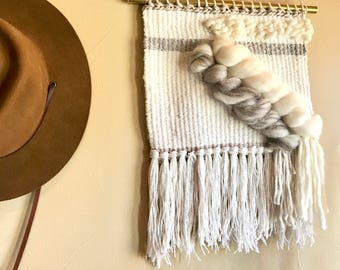 Woven Wall Hanging White + Grey