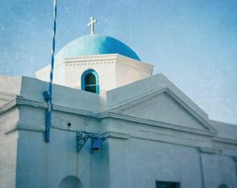 Greece Photography, Greek Islands, Cobalt Blue Dome, Mykonos, Mediterranean Sea, Travel Photo, White, Turqoise, Aqua Decor, Wall Art Print