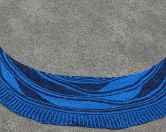 Bright Blue and Dark Blue The Hollies Pure Merino Wool Crescent Shaped Shawl