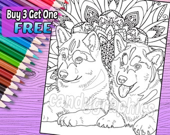 Husky Puppies - Adult Coloring Book Page - Printable Instant Download