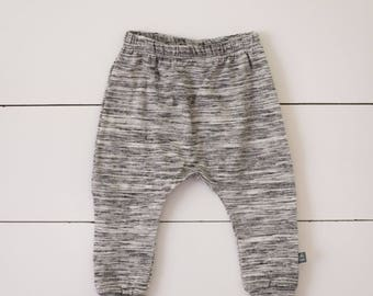 grey white black heathered harem pants by little lapsi. baby pants