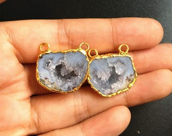 Pair Geode Agate Slice Druzy - Druzzy Drusy Agate Geode Pendant with Full Gold Electroplated
