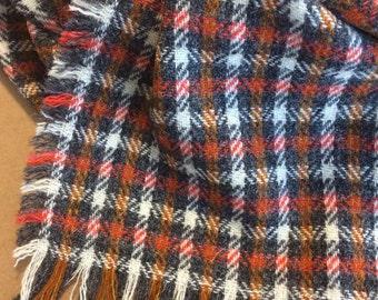 Harris Tweed OrangeGreyWhtGold Plaid Wool Rectangle Blanket Scarf