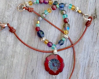 Boho Style Asymmetrical Necklace in Primary Colors