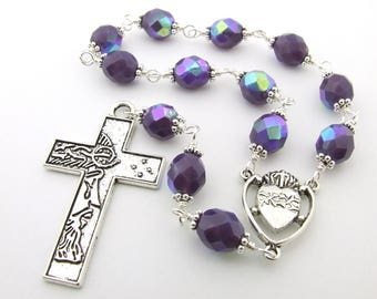 One Decade Rosary Beads Crown of Thorns Cross - Purple Unbreakable Wire Wrapped Catholic Rosary Beads Tenner - Men's Rosary - Catholic Gift