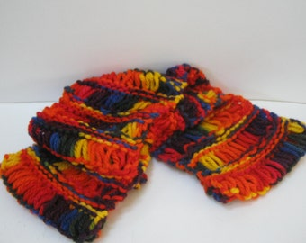 Knit Infinity Scarf Multi Color Winter Scarf Hand Knit Chunky Scarf Accessorie Teen Woman Gift Idea