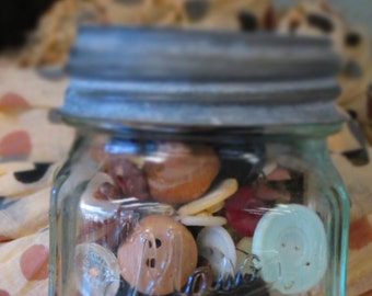 20% OFF TWO items SALE Vintage Small Mason Jar Full of Vintage Buttons, with Zinc Lid