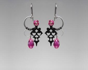 Steampunk Earrings with fuchsia Swarovski Crystals, Pink Crystal, Statement Jewelry, Swarovski Earrings, Bridal Jewelry, Hygieia II v5
