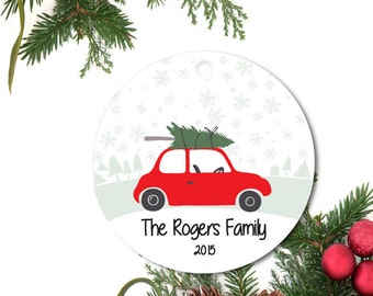 Car Ornament, Personalized Christmas Ornament, Family Car Ornament, Car Tree Ornament, Custom Ornament, Ceramic Ornament, Holiday Gift