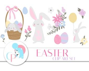 50% OFF Easter Clip Art Set - Set of 66 - Easter Clip Art - Easter Graphic - Spring - Cute Bunny - Easter Egg -Scrapbooking