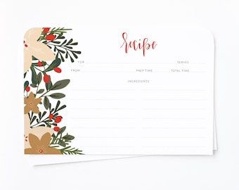 Holiday Recipe Cards | 4 x 6 Recipe Card Set, Illustrated Floral Holiday Recipe Cards with Hand Lettered Calligraphy: Christmas Recipe Card