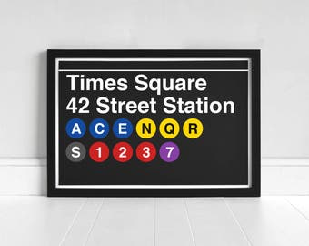 Times Square 42 Street Station - New York Subway Sign - Art Print