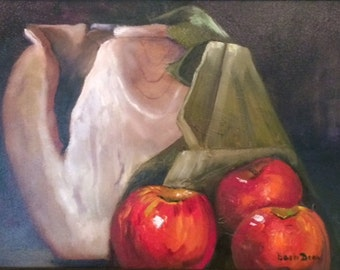 """Red Apples and Wooden Urn  12"""" x 16""""  prints only, original oil sold    see similar in shop or  www.barbbrownsart.com"""
