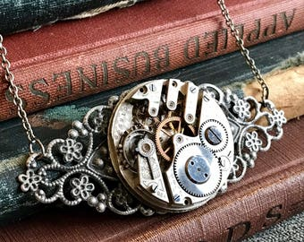 Steampunk Watch Movement, Steampunk Watch Jewelry, Watch Necklace, Steampunk Necklace