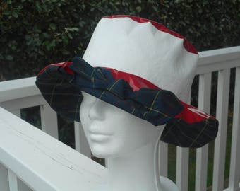 Red and white rain women beret Hat Cap