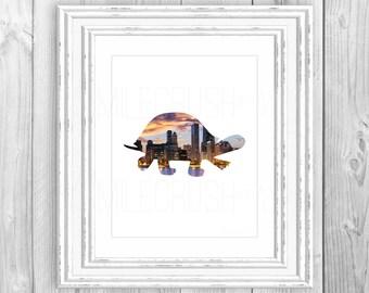 Turtle Print Animal Art Turtle Printable Poster Turtle Sign Skyline Art City Skyline Animal Sign Tortoise Decor Sunset Wall Decor 8x10 Art