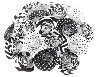 Black and White Party Centerpieces- 20 Black & White Paper Flowers, Black and White Bouquet, Cute Office Decor, Paper Flower Centerpiece