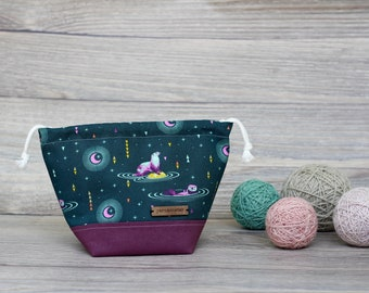 Knitting Project Bag | Purple Blue Otters Sock Sack Yarnmonster Knitting Project Bag