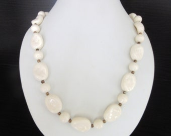 Long Dimpled Lucite Resin Bead Necklace Creamy Ivory Color 22 - 24.5 Inches