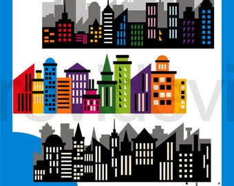 Superhero clip art - Superhero buildings long block clipart - City Skyline clipart, instant download - commercial use