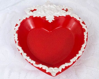 Vintage Heart Dish - Vintage Wall Hanging - Wall Plaque - Valentines Gift - Gifts for Her - Anniversary Gift - Jewelry Dish - Trinket Dish