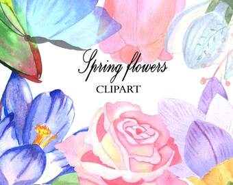 Roses Clipart,Flowers Clipart, Spring Flowers Clipart, Watercolor Clipart,Floral, Birthday Clipart, Mothers Day Clipart, Birthday Invitation