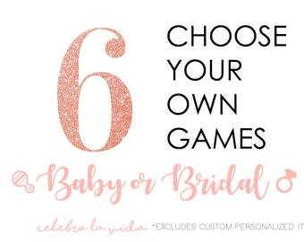Choose Any 6 Games or Signs. Baby or Bridal Shower Games! Instant Download. Printable Baby Shower and Bridal Shower Games/Signs.
