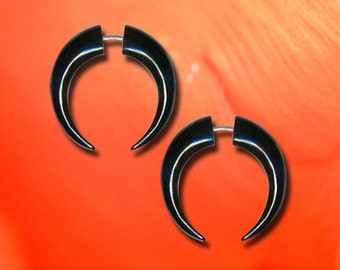 Double Horn, Fake Gauge, Handmade, Organic, Tribal, Black Horn Earrings, Cheaters, Plugs - H31