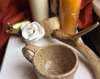 Mini Brown Speckled Ceramic Mug. Handmade, Wheel thrown Pottery.