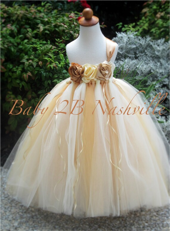 Vintage Dress Gold Dress Flower Girl Dress Wedding Dress