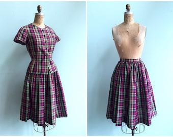 Vintage 1950's Plaid Skirt Set | Size Small