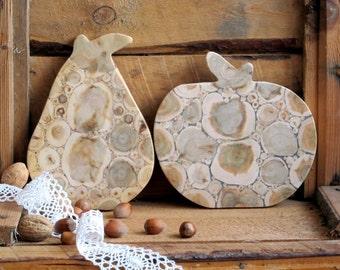 Juniper Wood Trivet Set of 2, Pear and Apple, Natural Handmade Breadboard, Lovely Gift, Home Decor, Kitchen Utensil, Untreated Wood