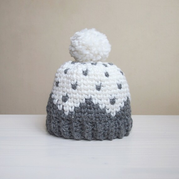 Crochet pattern Let it snow knit look hat fair isle women