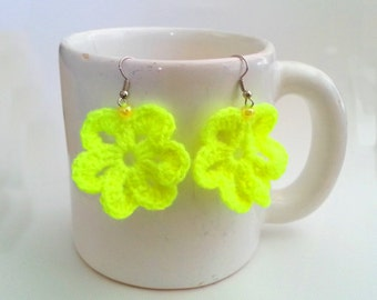 Crocheted Flower Earrings Neon Yellow