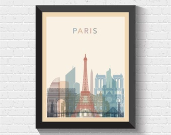 Paris Skyline, Paris Print, Paris Poster, Paris Cityscape, Paris Art, Paris Wall Art, Paris View, Paris Art Print, France Art, France Print