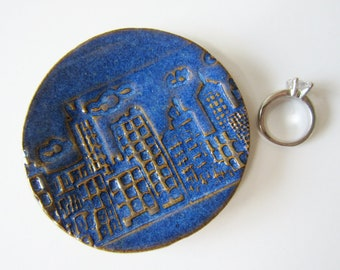 Gift Size City Buildings Clay Ring Dish - Glazed in Indigo blue - Urban design