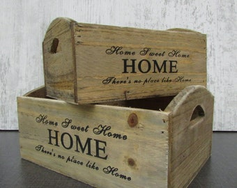 Shabby Set of 2 Small Wooden Crates, Storage boxes, Wooden Flower Boxes, Rustic Crates, Shabby Chic Decor