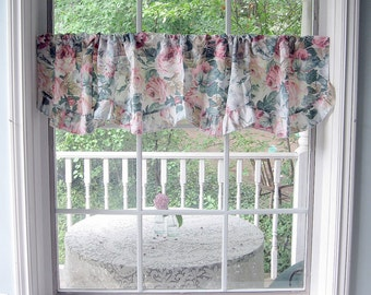 Valance with Roses, Curtain, Roses Valance, Window Topper, Frilled,  Cottage Charm, Shabby French, by mailordervintage on etsy