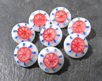 Nautical Molded Glass Buttons Hand Painted White Glass Ship's Wheel Helm VINTAGE Buttons Eight (8) Buttons Jewelry Sewing Supplies (M57)
