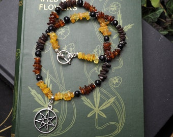 Baltic Amber, Lignite Jet and Fairy Star Necklace - Witches Necklace - Organic Jet, Wicca, Witchcraft, Septagram