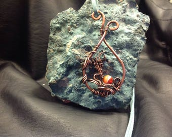 Copper wire wrapped teardrop pendant