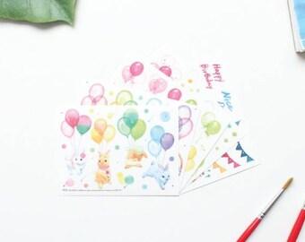 Journal Stickers, Balloon Rabbit Stickers, Balloon Stickers, Rabbit Stickers, Bunny Stickers