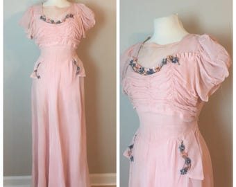Vintage Late 30's Romantic Pink Gown