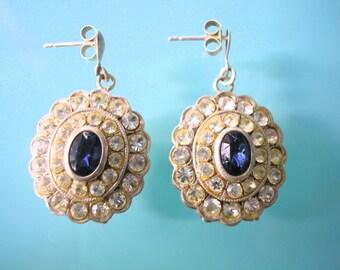 Blue Rhinestone Earrings, Sapphire, Pierced Earrings, Wedding Jewelry, Rhinestone Bridal Earrings, Sparkly Earrings, Diamante Earrings, Deco