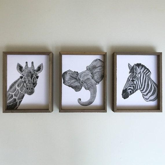Jungle Animals - Zoo Animals - Jungle Nursery - Zebra Print - Giraffe Print - Elephant Nursery Wall Art - Nursery Safari Decor