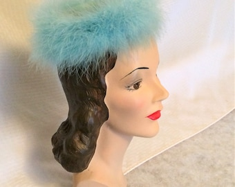 1960s Vintage Turquoise Marabou Feather Ring Hat Custom Made