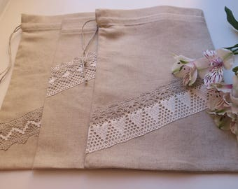 Set of 3 Linen Gift Bags with Linen Lace - Gift Wrapping - Wedding Gift Bags - 100% linen