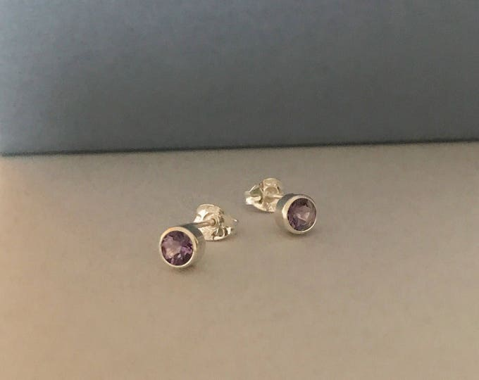 Amethyst silver stud earrings sterling silver february birthstone