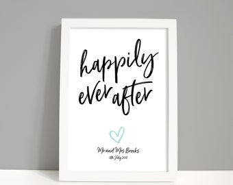 Personalised wedding gift home decor or engagement gift for couple, Happily ever after print