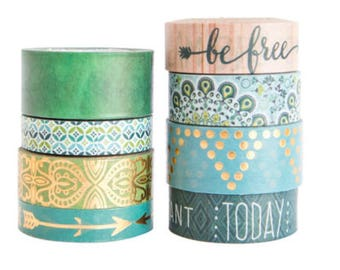 GREEN BLUE & GOLD Boho Washi Tapes Set of 8 Crafting Tape Rolls Planners Planning Craft Planner Crafts Metallic Foil Quotes Arrows Bohemian